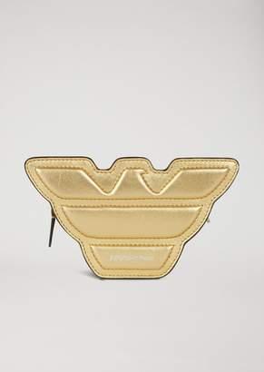 Emporio Armani Eagle-Shaped Mini-Bag In Laminated Leather With Shoulder Strap