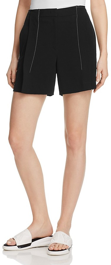 DKNYDKNY Contrast Stitching Pleat-Front Shorts