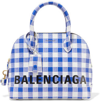 Balenciaga Ville Printed Leather Tote - Blue