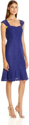 Adrianna Papell Women's Cap Sleeve Lace Midi Dress