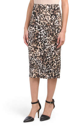 Leopard Print Knit Midi Pencil Skirt