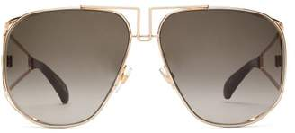 Givenchy Logo Engraved Aviator Metal Sunglasses - Womens - Black Gold