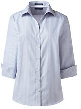 Lands' End Women's Regular 3/4 Sleeve No Iron Pattern Broadcloth Shirt-Charcoal $45 thestylecure.com