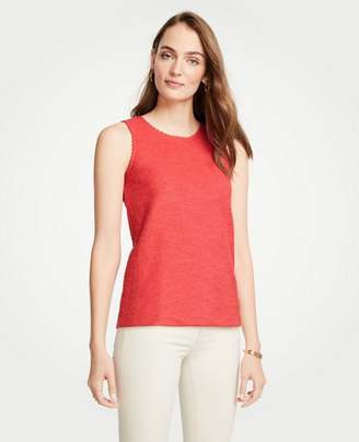 Ann Taylor Scalloped Textured Knit Shell