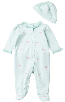 Little Me Flower Dot Footie & Hat Set (Baby Girls)