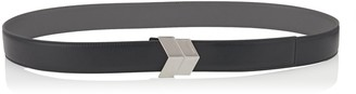 Jimmy Choo ACHILLE Black and Slate Reversible Leather Belt