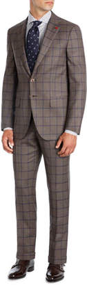Isaia Windowpane Super 140s Wool Two-Piece Suit, Light Brown/Blue