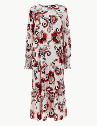Marks and Spencer Printed Cuff Detail Relaxed Dress
