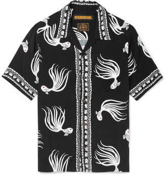 Neighborhood Camp-Collar Printed Twill Shirt