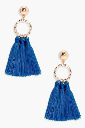 boohoo Circle Tassel Earrings