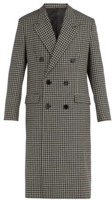 Ami Houndstooth Double Breasted Wool Blend Overcoat - Mens - Black Multi