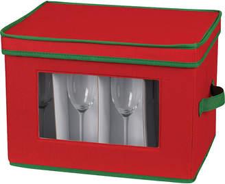 Household Essentials Red Holiday Flute Stemware Storage Chest