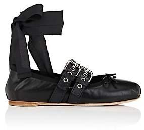 Miu Miu Women's Double-Buckle Leather Ankle-Tie Flats - Nero