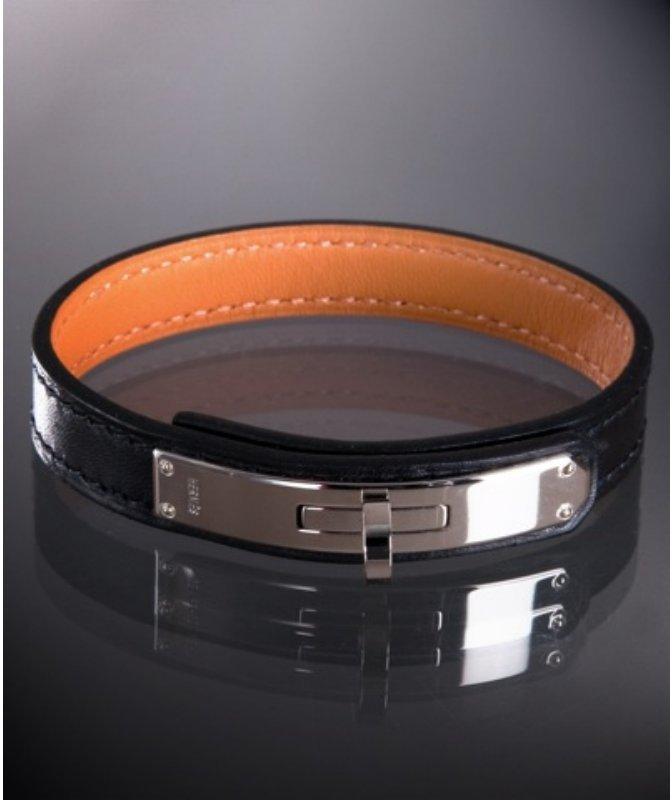 Hermes black leather 'Kelly' turnlock bracelet