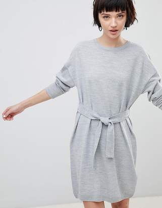 Asos Design Jumper Dress With Belted Detail