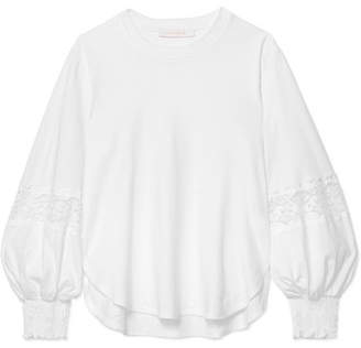 See by Chloe Lace-paneled Cotton-jersey Sweatshirt - White