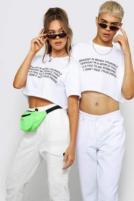 boohoo Pride Loose Fit Cropped T-Shirt With Print