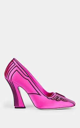 Fendi Women's Crystal-Embellished Satin Pumps - Pink