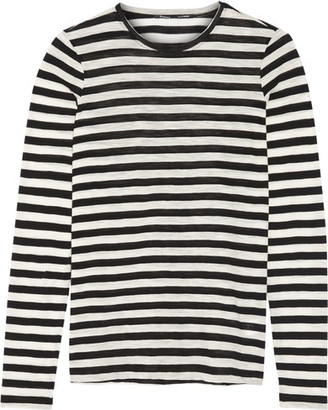 Proenza Schouler - Striped Slub Cotton-jersey Top - Black $275 thestylecure.com