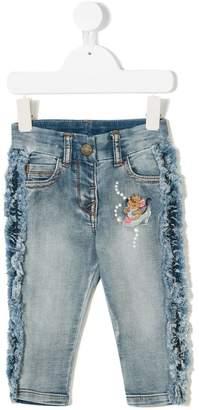 MonnaLisa Cinderella embroidery frayed edge jeans