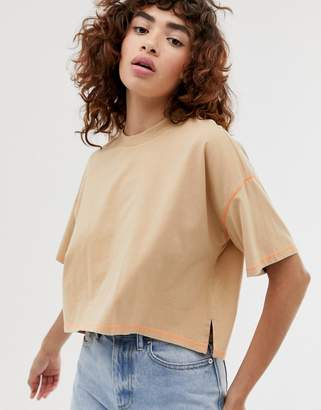 BEIGE Asos Design ASOS DESIGN oversized cropped t-shirt stepped hem in with contrast stitching