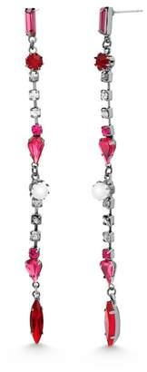 Steve Madden Rhinestone & Imitation Pearl Linear Drop Earrings