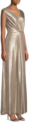 Tahari ASL Shirred Metallic V-Neck Evening Gown
