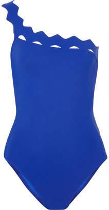 Karla Colletto Havana One-shoulder Cutout Swimsuit - Blue