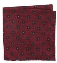 Black & Brown Black Brown Wool Paisley and Floral Pocket Square
