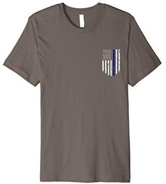 Thin Blue Line Flag T-shirt Chest Pocket Vintage Top Tee