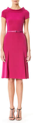 Carolina Herrera Cap-Sleeve Boat-Neck Dress, Magenta