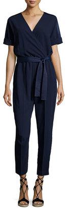 Trina Turk Rumi Short-Sleeve Faux-Wrap Jumpsuit, Blue $348 thestylecure.com