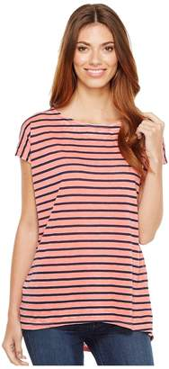 Allen Allen Stripe Cap Sleeve High-Low Crew Women's Clothing