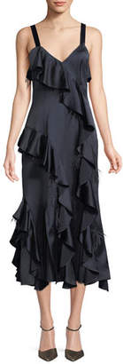 Cinq à Sept Gigi V-Neck Sleeveless Satin Ruffled Dress w/ Feather Trim