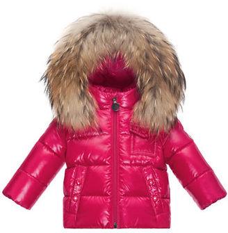 Moncler K2 Hooded Fur-Trim Puffer Coat, Size 12M-3 $475 thestylecure.com