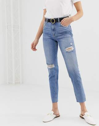 Pieces Ella ripped mom jeans