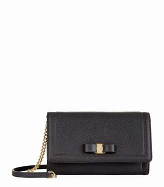 Salvatore Ferragamo Vara Bow Leather Chain Clutch Bag