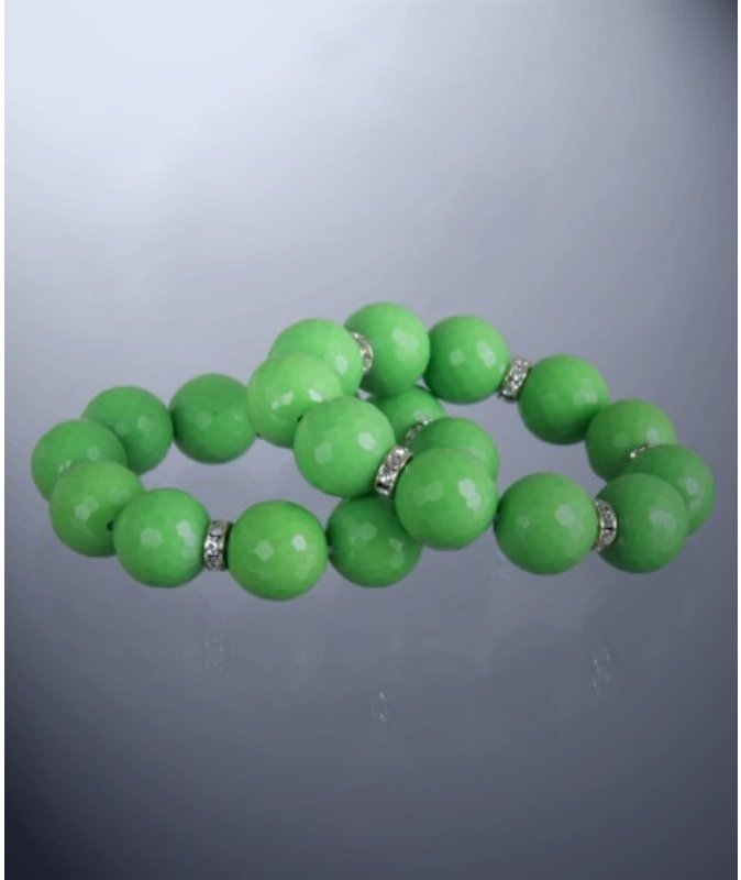 Lee Angel set of 2 - 'Carrie' olive faceted round beaded stretch bracelet