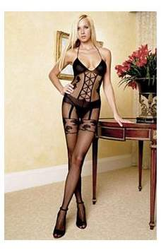Women's Faux Garter Corset Teddy Bodystocking, Black, One Size