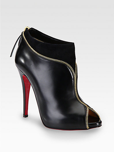 Christian Louboutin Col Zippe Leather and Suede Zipper Ankle Boots