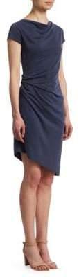 Halston Boatneck Draped Jersey Dress