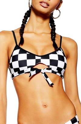 Topshop Checkboard Bikini Top