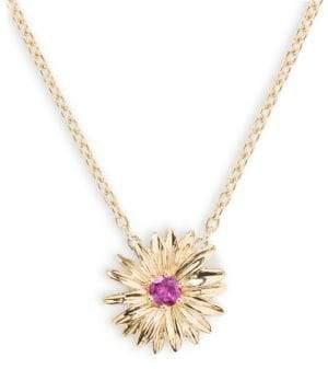 18K Yellow Gold Daisy Pendant Necklace