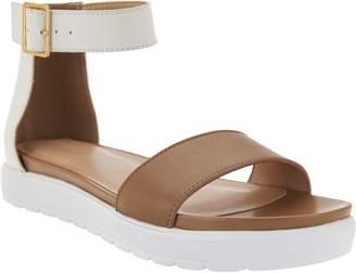 Logo By Lori Goldstein LOGO by Lori Goldstein Leather Ankle Strap Footbed Sandals