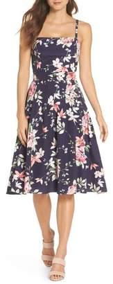 Eliza J Floral Belted Fit & Flare Dress