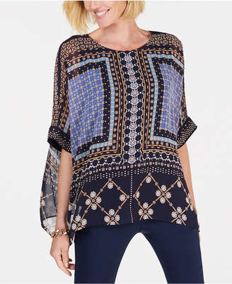 JM Collection Printed Embellished Poncho Top
