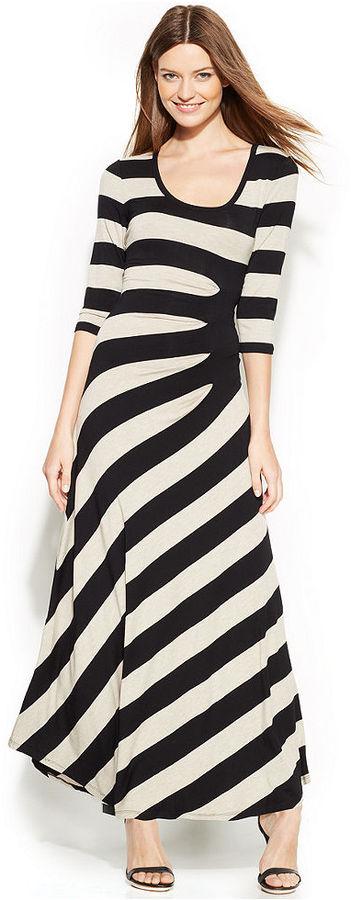Calvin Klein Three-Quarter-Sleeve Gathered-Stripe Maxi Dress