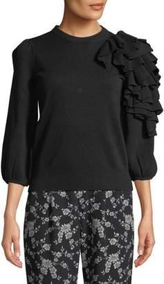 Co Exaggerated Ruffle 3/4-Sleeve Merino Wool Sweater