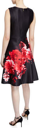 Donna Karan Floral-Print Scuba Crepe Dress