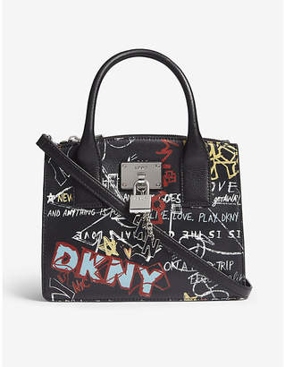 DKNY Elissa graffiti-print leather tote